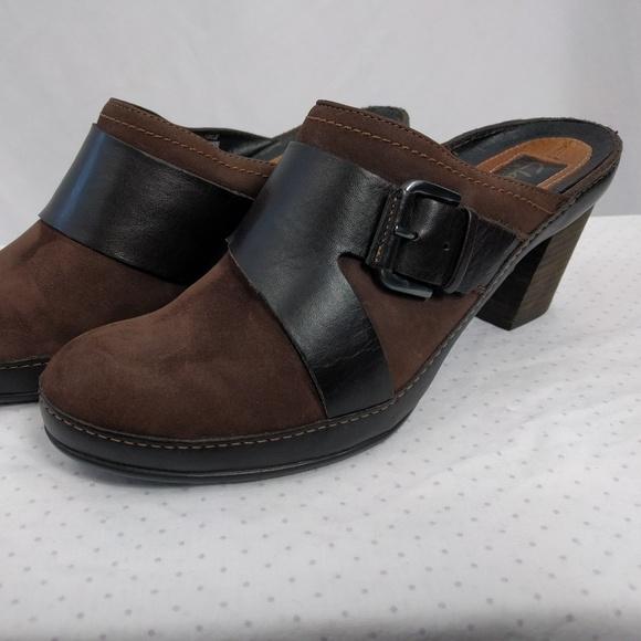 f07847c28d2d1 Clarks Shoes - Clarks Artisan Shoes Brown Suede Slip On Heels